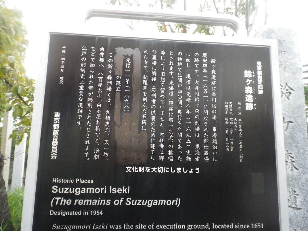 鈴ヶ森にある石碑