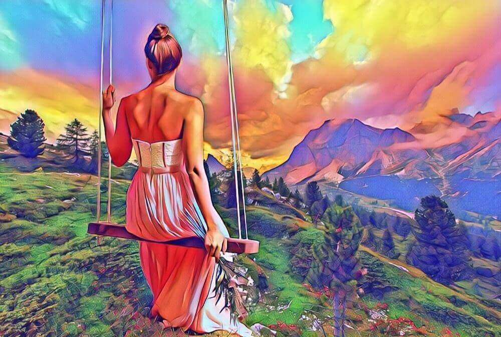 カラフルな世界に佇む女性